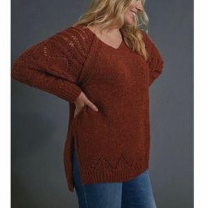 Anthropologie Pilco & the Letterpress Rust Orange V-Neck Pointelle Boho Sweater